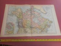 100% ORIGINAL LARGE CANADA AND NEWFOUNDLAND MAP  BY G  BACON C1912 VGC