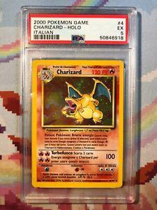 1999 Pokemon Base Set Unlimited Holo Rare ITALIAN Charizard #4 PSA 5 EX