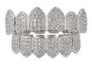 Silver Plated Bling Cubic Zirconia Top & Bottom Grillz Teeth - Top And Bottom