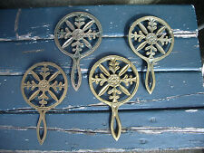 Vintage Brass Trivets Lot of 4 Wilton Snowflake Pattern Antique Cast Solid Feet