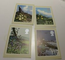 MINT 1979 GB BRITISH FLOWERS PHQ MAXI CARD SET OF 4
