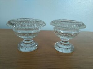 2 Vintage Cut Glass Urn Shaped Candle Holders