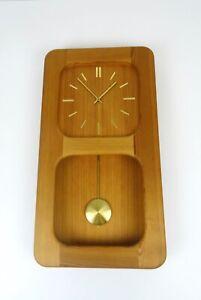 DANISH MODERN ORIGINAL MID CENTURY 60S PINE WOOD VINTAGE WALL CLOCK BY DANCLOCK