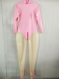Latex Rubber Overall Pink Transparent Catsuit Cosplay Sexy Bodysuit S-XXL 0.4mm