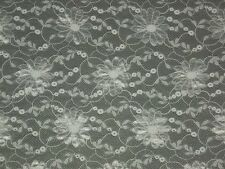 """White lace fabric circle Floral mesh material 57""""x sold By the yard continuous"""
