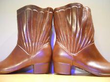 Vintage 1960s Western Winter Fleece Brown Rubber Rain Boots Granny Rockabilly 5