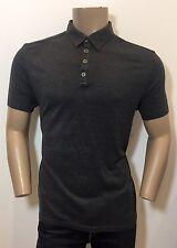 JOHN VARVATOS Mainline 'Hampton' Charcoal Grey Silk Cotton Polo Shirt T-Shirt L