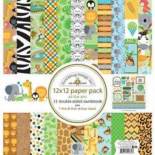 Scrapbooking Crafts 12X12 Paper Kit Doodlebug Zoo Animals Elephant Zebra Giraffe