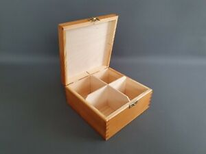 Pine Wood GOLD  Handmade Tea Bags 4 Compartments Storage Box Kitchen Chest