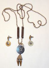 Skillfully Hand Crafted Fasteners Nuts Steampunk Necklace & Pierced Earrings