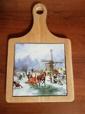 Trivet Made In Holland Handdecorated by Ter Steege Windmill Horse and Sleigh