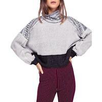 Free People Womens Aztec Print Turtleneck Knit Crop Sweater Top BHFO 0513
