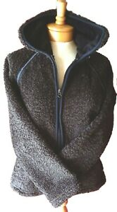 Athleta Fuzzy Fleece Full Zip Jacket Dark Brown Size S inside & outside pockets