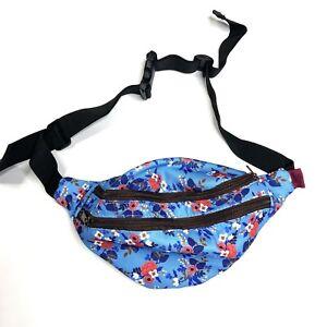 L. Parkin Design Fanny Pack Travel Utility Bag Floral Blue Adjustable Waist NEW