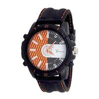 Black Orange Designer Fashion Watch Geneva Silicone Band Men Sport