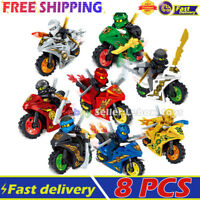 Building Blocks Ninja Lot of Set Ninjago Mini Figures Motorcycle Weapon Toy 8PCS
