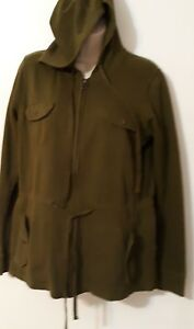 Lucky Brand Womens Size Small Hoodie Jacket Cotton Green Olive
