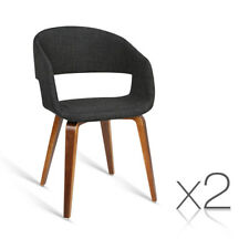 Artiss Set of 2 Timber Wood and Fabric Dining Chairs Charcoal