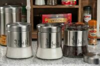 SET 3 BARATTOLI PORTA CAFFE' ZUCCHERO SALE IN VETRO METALLO AD TREND STAR 48298