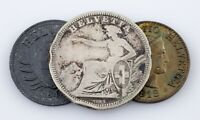 1861-1944 Switzerland Coin Lot (3pcs) 2 Rappen to 1 Franc (F-Unc)