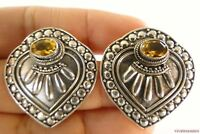 Yellow Citrine Ornate 925 Sterling Silver Stud Post Statement Earrings