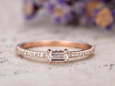 Unique 1Ct Emerald Cut Simulant Morganite & Diamond Ring Rose Gold Finish Silver