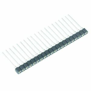 2 x 20 Way 2.54mm Turned Pin Single In Line SIL Socket 17.8mm Height