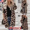 Women's Leopard Loose Cardigan Long Sleeve Sweater  Outwear Autumn Coat Jacket