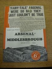 22/03/1952 Arsenal v Middlesbrough  (Crease, Neat Match Notes On Cover, Team Cha