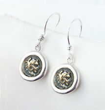 Alexander the Great - 925 Sterling Silver - Ancient Coin Earrings, fish hook
