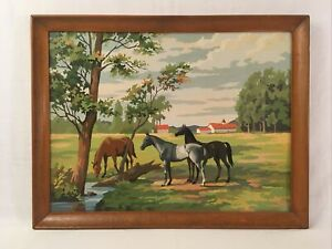 Large Vintage PBN Horse Farm Country Landscape Framed Paint by Number