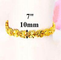 "24k Yellow Gold Womens 10mm Linked Heart Chain Small 7"" Bracelet w GiftPkg D9717"
