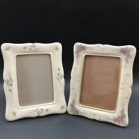 Vintage 2pc Lenox Ceramic Rose Frame 3.5x5 with Beautiful Roses Made In USA