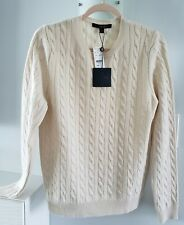 New BROOKS BROTHERS LG Ivory 100% Cashmere Cable Knit L/S Sweater Crew $398 NWT