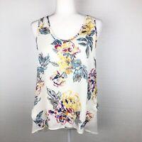 Elodie Women's Floral Sleeveless Feminine High-Low Chiffon Tank Top Blouse L