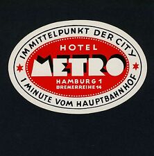 Hotel Metro HAMBURG Germany / Main Station * Old Luggage Label Kofferaufkleber
