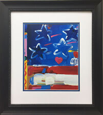 """Peter Max """"Flag - Detail"""" Newly CUSTOM FRAMED Print Art POP psychedelic American"""