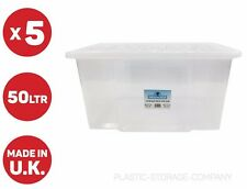 5 X 50 LITRE PLASTIC STORAGE BOX - QUALITY CONTAINER WITH CLEAR LID - STACK ABLE