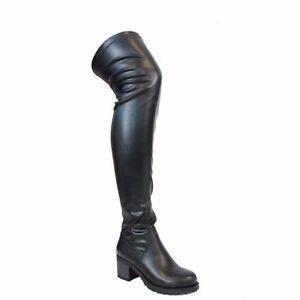 NEW Liliana Jacko-1 Black Over the Knee Lug Sole Chunky Heel  Boots