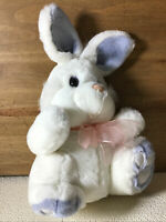 Adorable White Fluffy Plush Rabbit Toy Blue Ears And Feet Lovely Gift