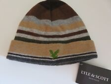 Lyle & Scott beanie hat boys age 6-10 yrs light grey brown beige green eagle NEW