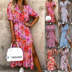 Boho Womens Summer Sun Dresses Ladies Party Floral Midi Dress Holiday Plus Size