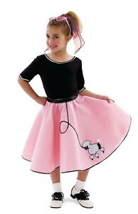 50's Poodle Skirt Costume Set - Child X-Small 4, Halloween, Pink and Black