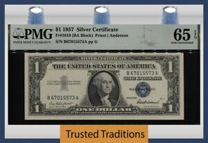 TT FR 1619 (BA BLOCK) 1957 $1 SILVER CERTIFICATE PMG 65 EPQ GEM UNCIRCULATED!