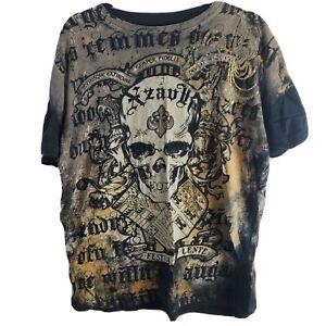 Xzavier Skull T-Shirt Men's Size Large L  Black Gold
