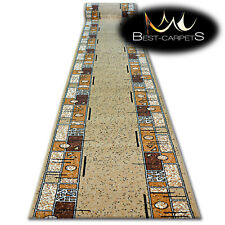 Modern Hall Carpet Runner BCF BASE beige FRAME Stairs 60-150cm extra long RUGS