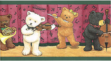 Music Musical Band Teddy Bears Stuffed Animal Kid Nursery Wall paper Border