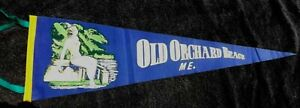 "VINTAGE 1950s OLD ORCHARD BEACH MAINE PENNANT Banner 26.5"" Bathing Beauty"