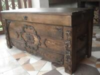 Wooden Blanket Box Coffee Table Trunk Vintage Chest Wooden Ottoman Toy Box (JUL5