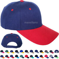 Baseball Cap Plain Blank 2 Tone Strapback Adjustable Solid Hat Polo Style Visor